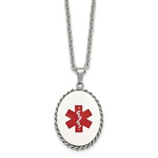 Stainless Steel Polished Enameled Oval Medical Charm Necklace