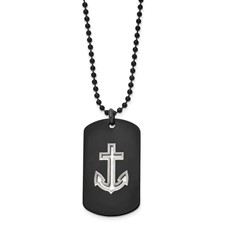Stainless Steel Polished Black IP-plated Anchor Dog Tag Necklace