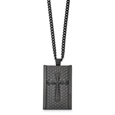 Stainless Steel Black IP-plated Matte Finish Cross 24 inch Necklace
