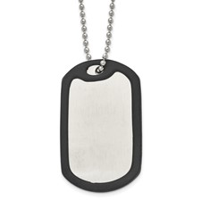 Stainless Steel Brushed/Mirrored Removeable Black Rubber 24in Dog Tag Neck