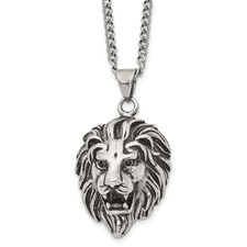 Stainless Steel Antiqued and Polished Lion Head 24 inch Necklace