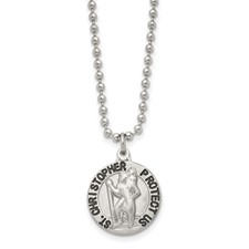 Stainless Steel Brushed and Enameled St. Christopher Medal Necklace