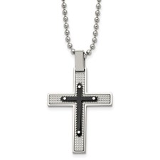 Stainless Steel Polished Textured Black IP-plated Cross Necklace