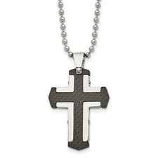 Stainless Steel Polished Solid Black Carbon Fiber Cross Necklace