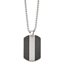 Stainless Steel Polished Studded Black Solid Carbon Fiber Dog Tag Necklace