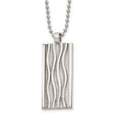 Stainless Steel Polished Wave Design Dog Tag Necklace