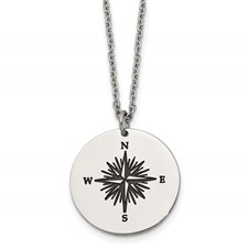 Stainless Steel Polished Enamel THOSE WHO WANDER Compass Necklace