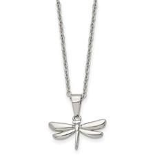 Stainless Steel Polished 22 inch Dragonfly Necklace