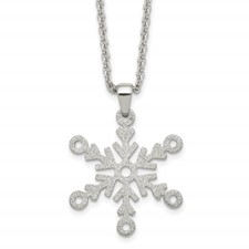 Stainless Steel Polished and Laser cut Snowflake Necklace
