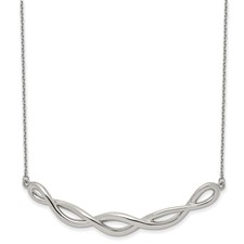 Stainless Steel Polished Twisted Bar 18 inch w/2in ext. Necklace