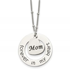 Stainless Steel Polished MOM FOREVER IN MY HEART 30 inch Necklace