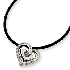 Chisel Stainless Steel CZ Pendant Necklace