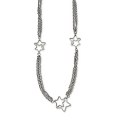 Stainless Steel Polished Star 30 inch Necklace