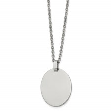 Stainless Steel Polished Oval 22in Necklace