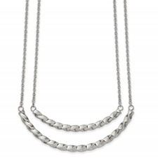 Stainless Steel Polished Double Twisted Bar 17in with 2in ext. Necklace