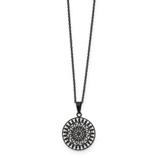 Stainless Steel Polished Black IP-plated Laser Cut 16in w/2in ext Necklace