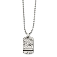 Stainless Steel Antiqued and Polished Hammered Reversible DogTag Necklace