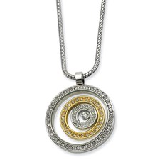 Chisel Stainless Steel and CZ Circle Pendant Necklace