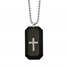 Stainless Steel Polished w/Solid Carbon Fiber & CZ Cross DogTag Necklace