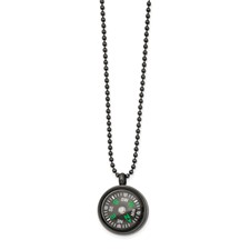 Stainless Steel Brushed Gun Metal IP-plated Compass 24in Necklace