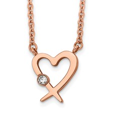 Stainless Steel Rose IP w/Austrian Crystal Heart 16in w/2in ext. Necklace