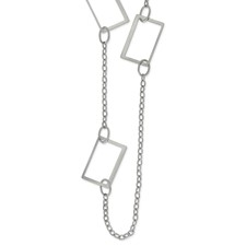 Stainless Steel 39in Square Link Necklace