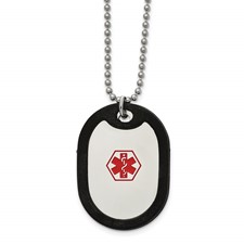 Stainless Steel Polished w/Red Enamel/Blk Rubber Medical 24in Necklace
