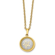 Stainless Steel Yellow Ip-plated Crystal Floating Star 2in ext 16in Necklac