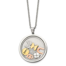Stainless Steel Rose & Yellow Ip-plated Crystal & Charms 2in ext Necklace