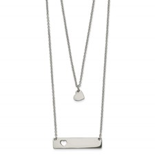 Stainless Steel Polished Heart and Bar Multi-strand 1.5in ext Necklace
