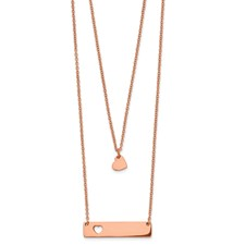 Stainless Steel Rose Ip-plated Heart Bar Multi-strand 1.5in ext Necklace