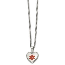 Stainless Steel Polished w/Red Enamel Heart Medical 20in Necklace