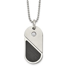 Chisel Stainless Steel Dog Tag Heart Convertible Pendant Necklace
