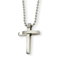 Chisel Stainless Steel Cross Pendant Necklace