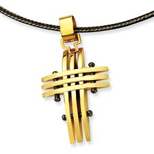 Chisel Stainless Steel 24k plating Cross 16 inch Necklace