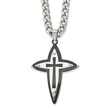 Chisel Stainless Steel and Black Color Cross Pendant Necklace