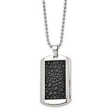 Chisel Stainless Steel and Stingray Patterned Dog Tag Necklace