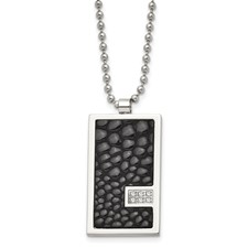 Chisel Stainless Steel and Stingray Patterned with 1/10ct. Diamond Necklace