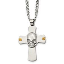 Chisel Stainless Steel Skull on Cross Necklace