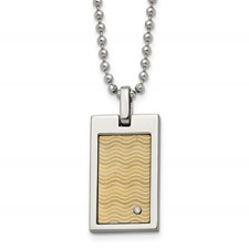 Chisel Stainless Steel with 18k Gold-plated with .01ct. Diamond Necklace