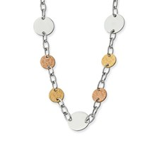 Chisel Stainless Steel Gold and Rose Plated Circle Necklace