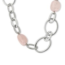 Chisel Stainless Steel and Rose Quartz Necklace