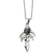 Chisel Stainless Steel Dagger with Skull  Pendant 24 inch Necklace