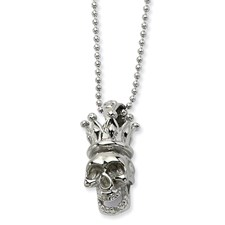 Chisel Stainless Steel Skull with Crown Pendant 22 inch Necklace