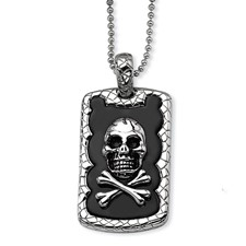 Chisel Stainless Steel Skull and Crossbones Black-plated Dog Tag Pendant 24 inch Necklace