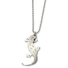 Chisel Stainless Steel Lizard CZ 22 inch Necklace