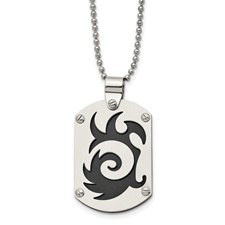 Chisel Stainless Steel Satin and Black-plated Swirl Dog Tag Pendant 24 inch Necklace