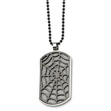 Chisel Stainless Steel Grey Carbon Fiber Spider Web Dog Tag 24 inch Necklace