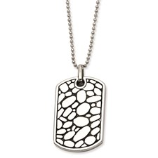 Chisel Stainless Steel Black Enamel Pebble Dog Tag Pendant 24 inch Necklace