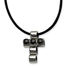 Chisel Stainless Steel Polished Black-plated Beads Cross 20 inch Pendant Necklace